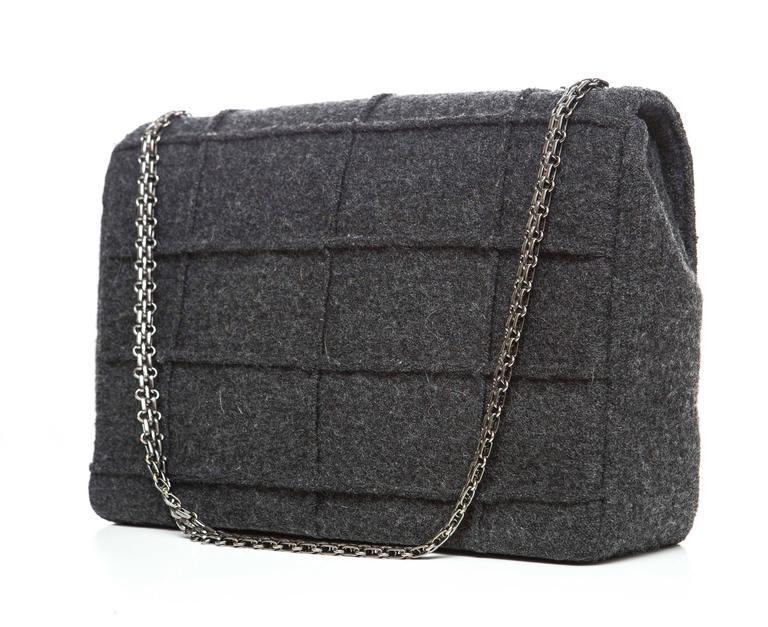 Chanel 2.55 Charcoal Grey Wool Jumbo Flap Bag, Autumn - Winter 1999 7