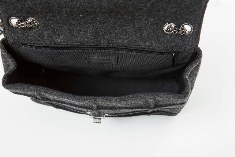 Chanel 2.55 Charcoal Grey Wool Jumbo Flap Bag, Autumn - Winter 1999 8