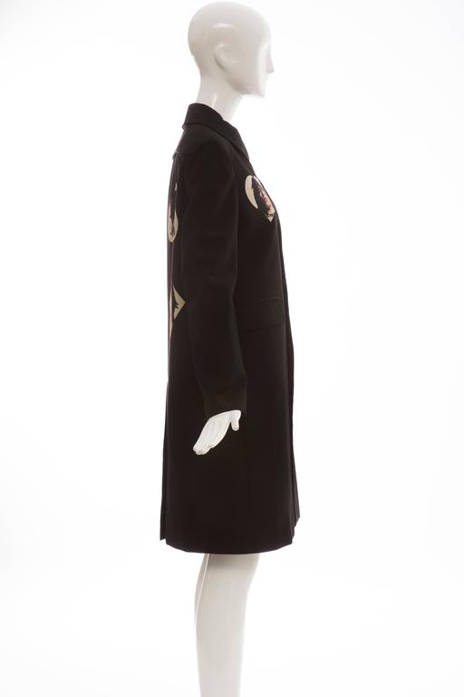 Undercover Jun Takahashi Runway Black Wool Cotton Printed Coat , Spring 2016 In Excellent Condition For Sale In Cincinnati, OH