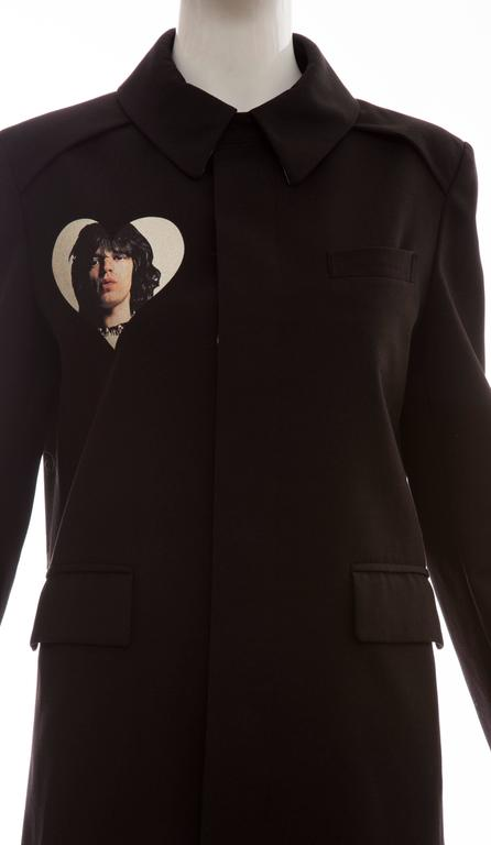 Women's Undercover By Jun Takahashi Black Coat With Rolling Stones Print, Spring 2016 For Sale