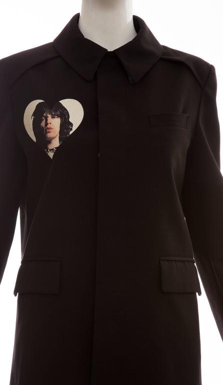 Women's Undercover Jun Takahashi Runway Black Wool Cotton Printed Coat , Spring 2016 For Sale