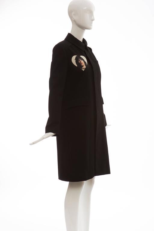 Undercover Jun Takahashi Runway Black Wool Cotton Printed Coat , Spring 2016 For Sale 1