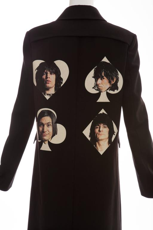 Undercover By Jun Takahashi Black Coat With Rolling Stones Print, Spring 2016 For Sale 2