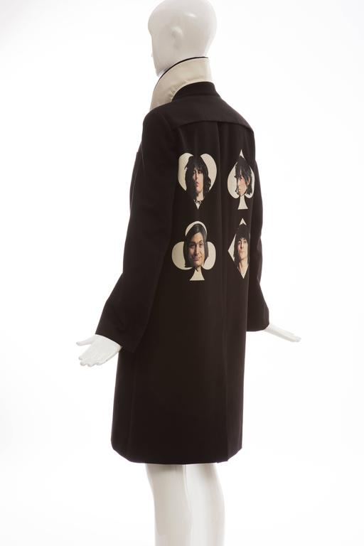 Undercover Jun Takahashi Runway Black Wool Cotton Printed Coat , Spring 2016 For Sale 3