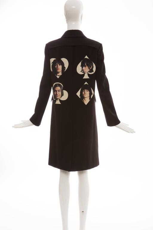 Undercover Jun Takahashi Runway Black Wool Cotton Printed Coat , Spring 2016 For Sale 4