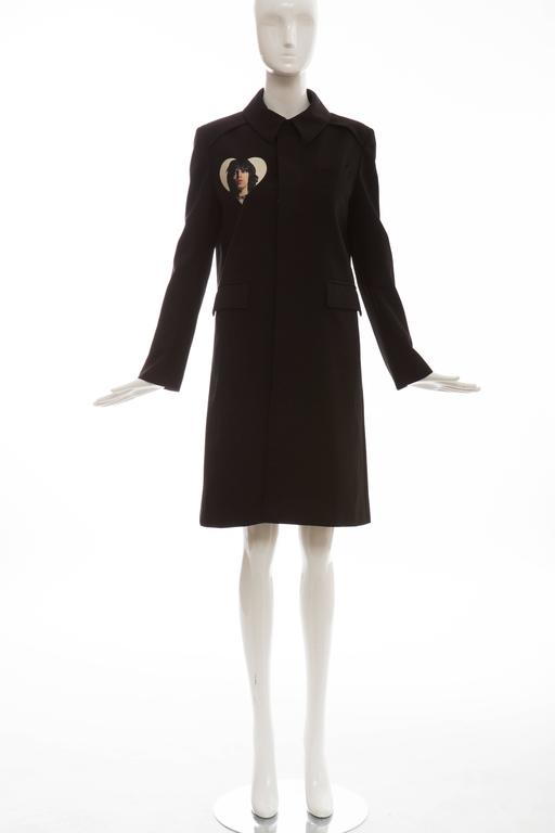 Undercover Jun Takahashi Runway Black Wool Cotton Printed Coat , Spring 2016 For Sale 5