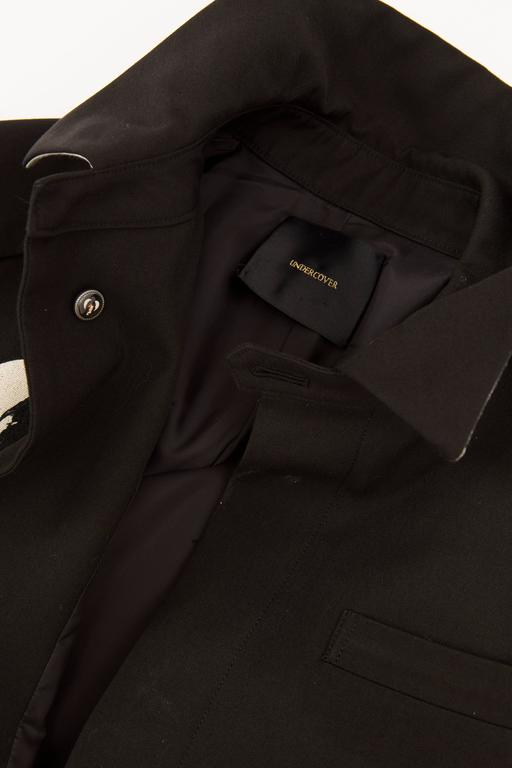 Undercover Jun Takahashi Runway Black Wool Cotton Printed Coat , Spring 2016 For Sale 6