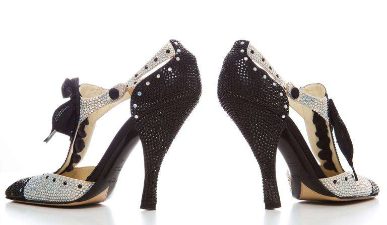 Black Tom Ford For Yves Saint Laurent Crystal Spectator Heels, Spring - Summer 2004  For Sale