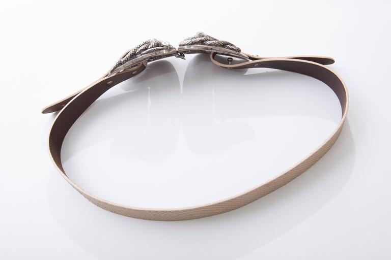 Beige Roberto Cavalli Python Belt With Adjustable Snake Buckle For Sale