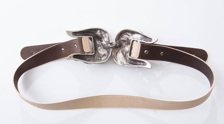 Roberto Cavalli Python Belt With Adjustable Snake Buckle In Excellent Condition For Sale In Cincinnati, OH