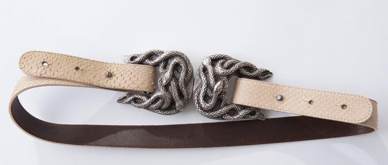 Women's or Men's Roberto Cavalli Python Belt With Adjustable Snake Buckle For Sale