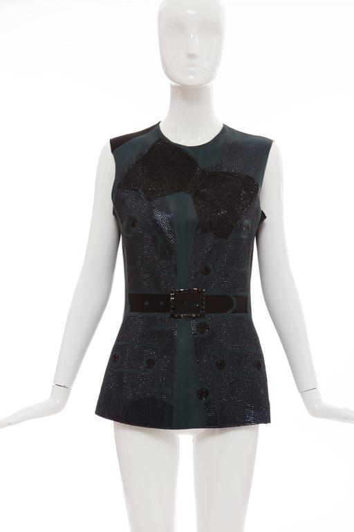 Blue Lanvin By Alber Elbaz Sleeveless Trompe l'oeil  Silk Embellished Top Circa 2006 For Sale
