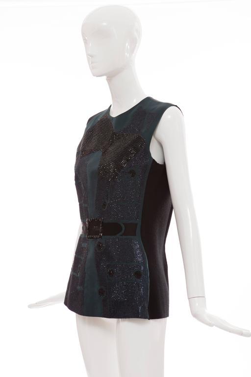 Women's Lanvin By Alber Elbaz Sleeveless Trompe l'oeil  Silk Embellished Top Circa 2006 For Sale