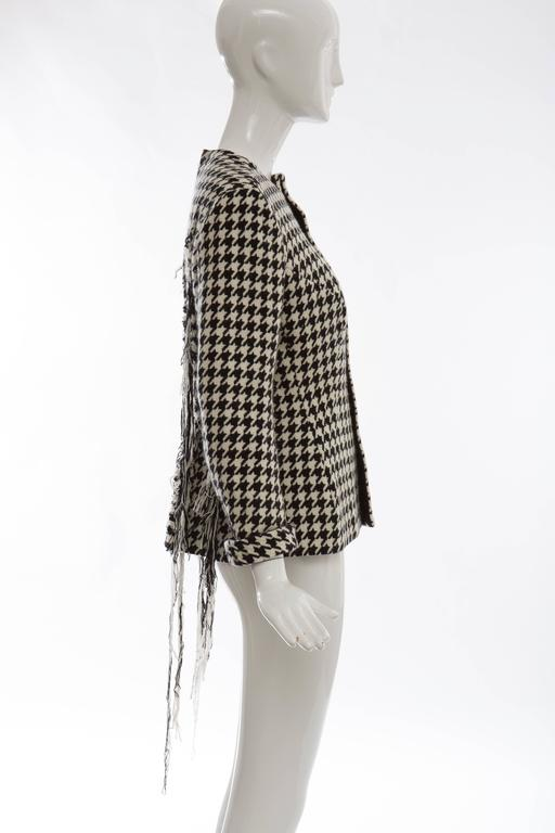 Black Yohji Yamamoto Wool Houndstooth Jacket With Leather Trim, Autumn - Winter 2003 For Sale