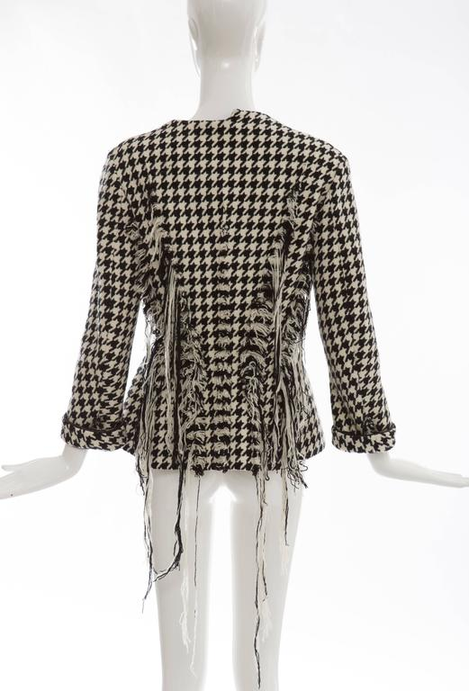 Yohji Yamamoto Wool Houndstooth Jacket With Leather Trim, Autumn / Winter 2003 In Excellent Condition For Sale In Cincinnati, OH