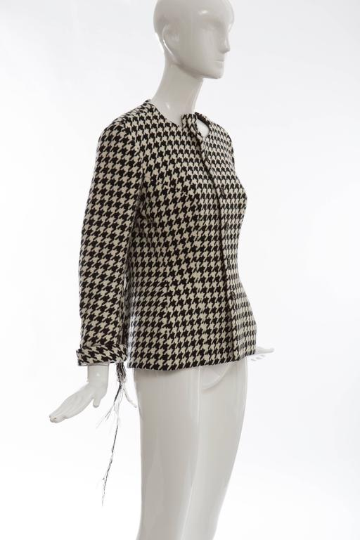 Women's Yohji Yamamoto Wool Houndstooth Jacket With Leather Trim, Autumn / Winter 2003 For Sale