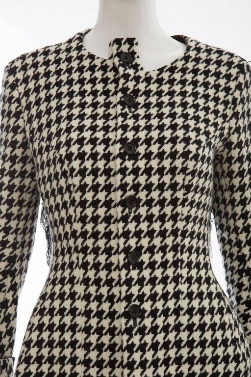 Yohji Yamamoto Wool Houndstooth Jacket With Leather Trim, Autumn / Winter 2003 For Sale 1