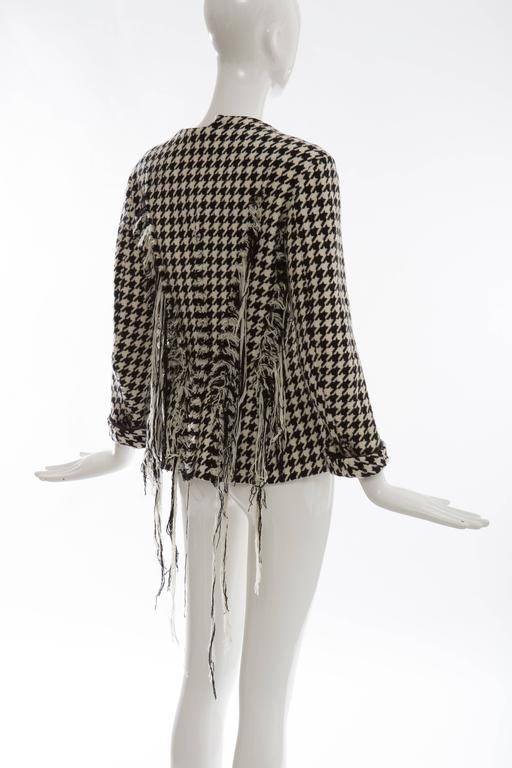 Yohji Yamamoto Wool Houndstooth Jacket With Leather Trim, Autumn / Winter 2003 For Sale 2