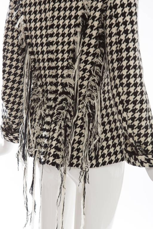 Yohji Yamamoto Wool Houndstooth Jacket With Leather Trim, Autumn - Winter 2003 For Sale 3