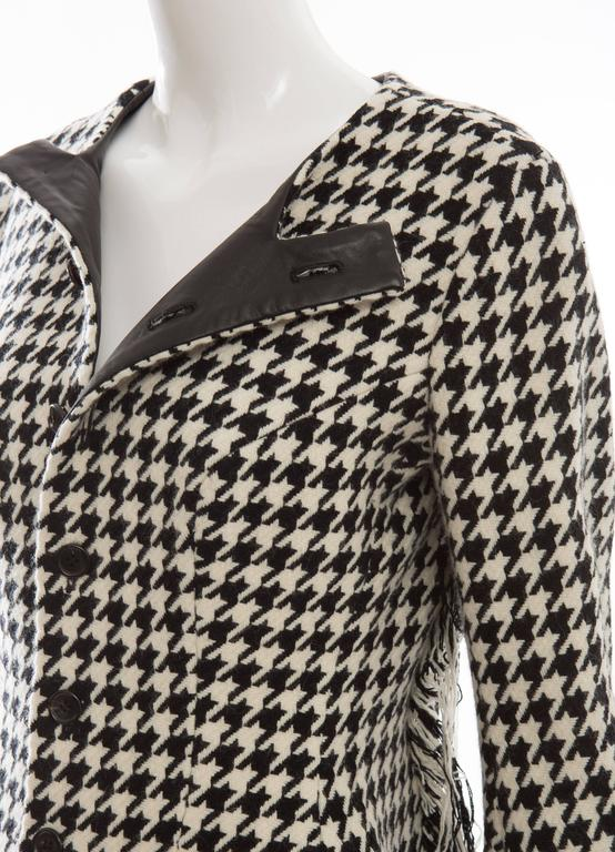 Yohji Yamamoto Wool Houndstooth Jacket With Leather Trim, Autumn / Winter 2003 For Sale 4