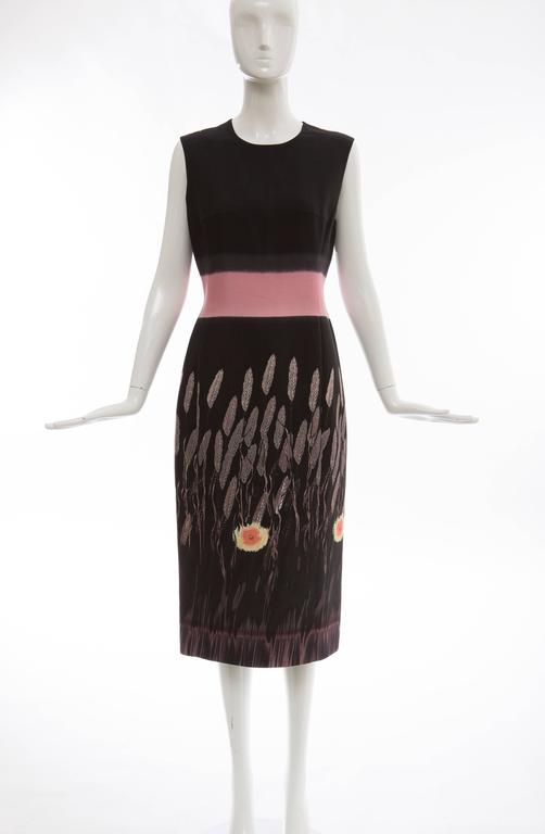 Prada, Spring-Summer 1998 silk cotton printed sleeveless sheath dress, back zip and fully lined.  No Size Label  Bust: 35, Waist:31, Hips: 40, Length: 46