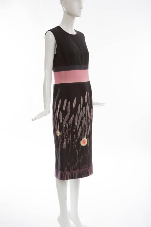 Women's Prada Silk Cotton Printed Sleeveless Sheath Dress, Spring - Summer 1998 For Sale