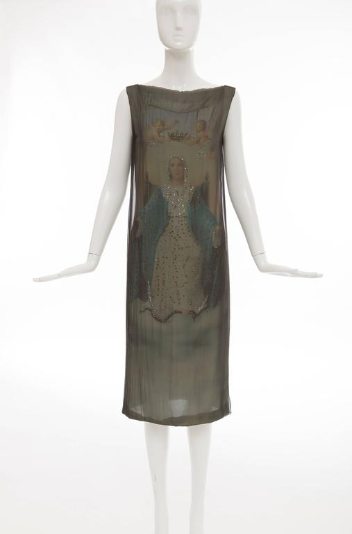 Dolce & Gabbana, Stromboli Collection, Spring-Summer 1998 silk chiffon sleeveless shift dress with Virgin Mary print underlay, diamanté detail with back zip.  IT. 40 US. 4  Bust: 36 Waist: 34 Hip: 36 Length: 45