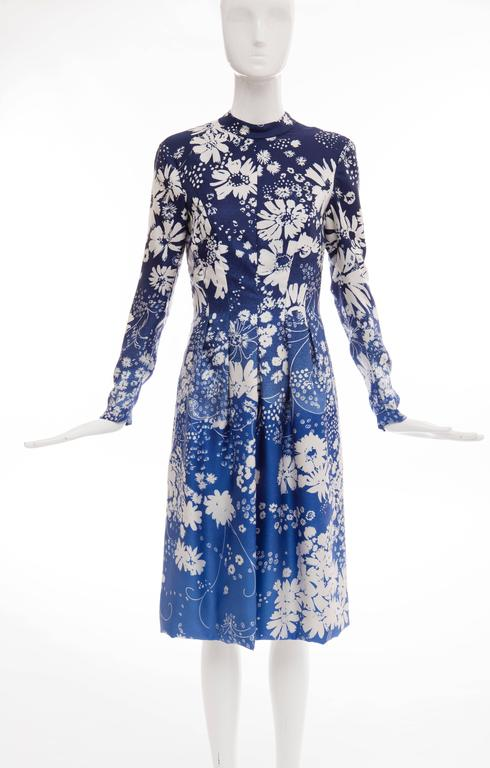 Pauline Trigere Navy Blue Ombre Silk Floral Long Sleeve Dress, Circa 1980's 2
