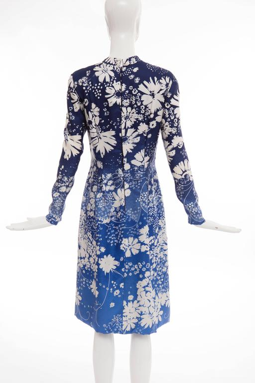 Pauline Trigere Navy Blue Ombre Silk Floral Long Sleeve Dress, Circa 1980's 4