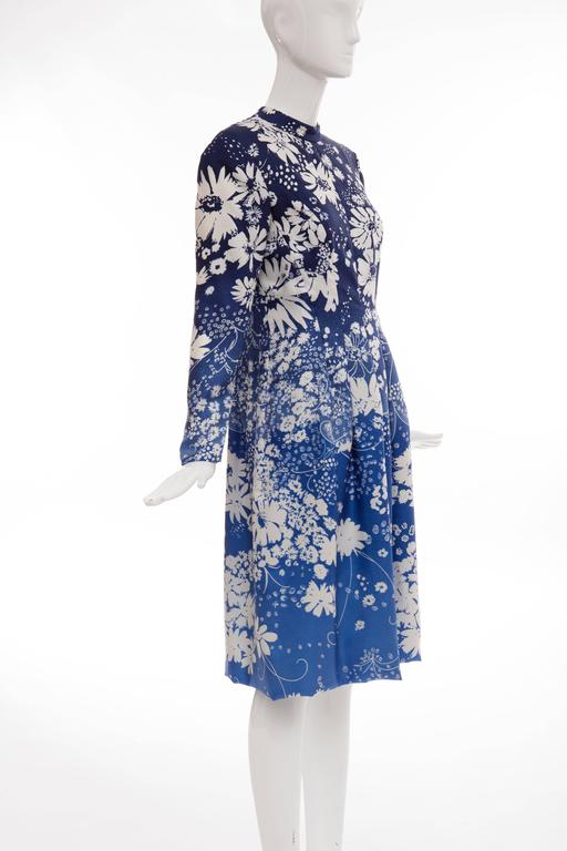 Pauline Trigere Navy Blue Ombre Silk Floral Long Sleeve Dress, Circa 1980's 5