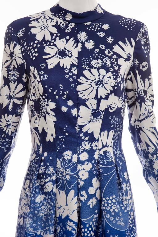 Pauline Trigere Navy Blue Ombre Silk Floral Long Sleeve Dress, Circa 1980's 6
