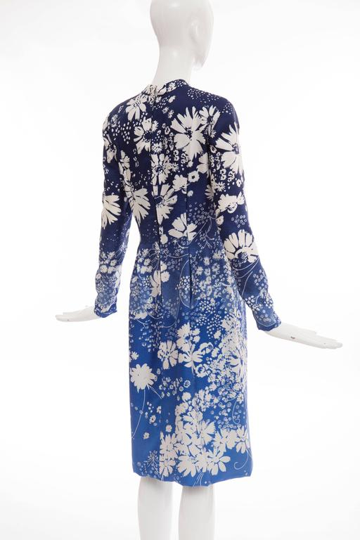 Pauline Trigere Navy Blue Ombre Silk Floral Long Sleeve Dress, Circa 1980's 7