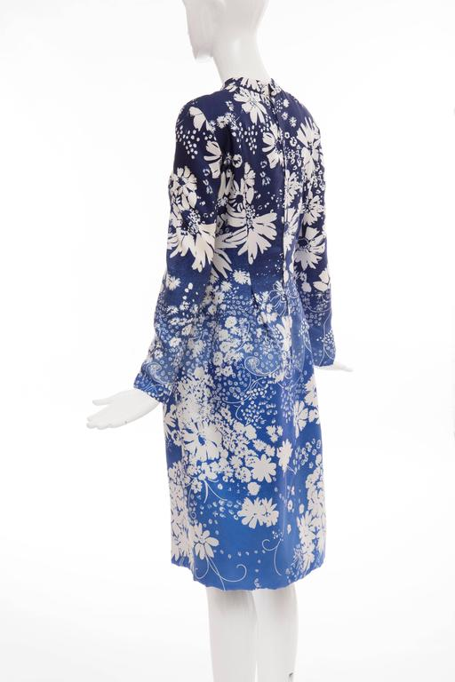 Pauline Trigere Navy Blue Ombre Silk Floral Long Sleeve Dress, Circa 1980's 8