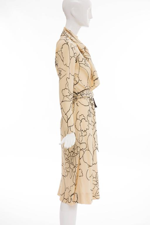 White Pauline Trigere Cream Black Floral Silk Crepe Long Sleeve Dress, Circa 1980s For Sale