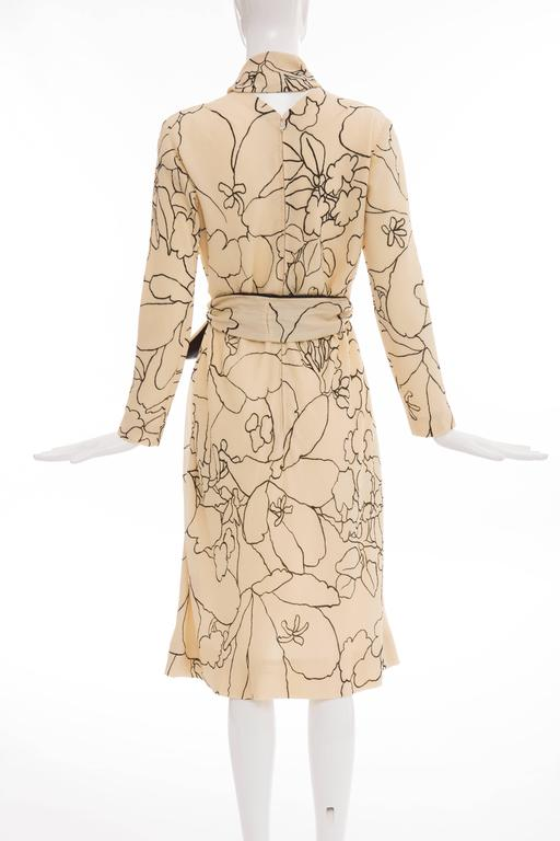Pauline Trigere Cream Black Floral Silk Crepe Long Sleeve Dress, Circa 1980s In Excellent Condition For Sale In Cincinnati, OH