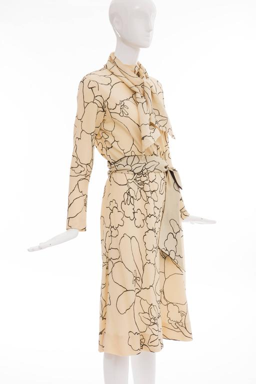 Women's Pauline Trigere Cream Black Floral Silk Crepe Long Sleeve Dress, Circa 1980s For Sale