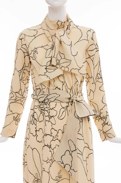 Pauline Trigere Cream Black Floral Silk Crepe Long Sleeve Dress, Circa 1980s For Sale 1