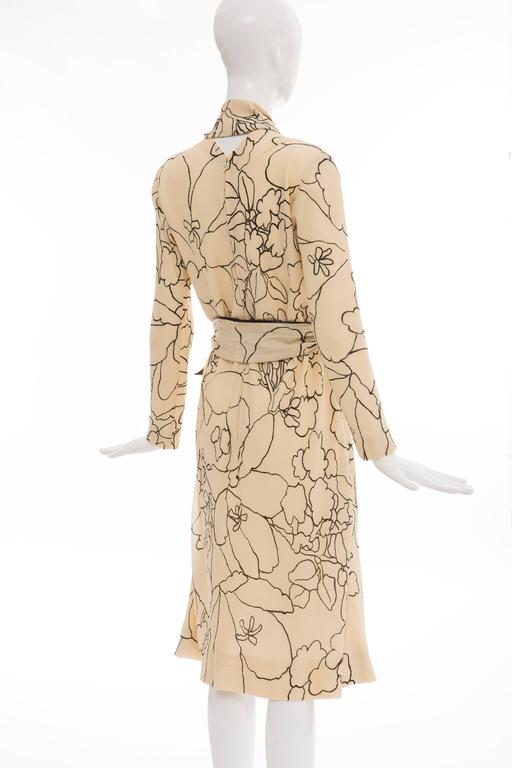 Pauline Trigere Cream Black Floral Silk Crepe Long Sleeve Dress, Circa 1980s For Sale 2
