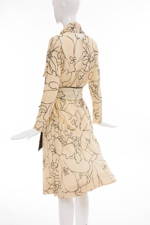 Pauline Trigere Cream Black Floral Silk Crepe Long Sleeve Dress, Circa 1980s For Sale 3