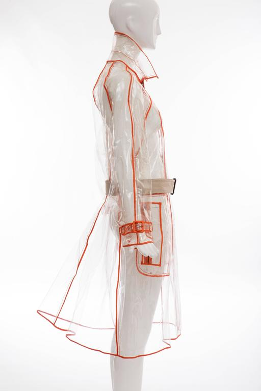 Beige Prada Transparent PVC Rain Coat Contrasting Orange Trim, Fall 2002  For Sale
