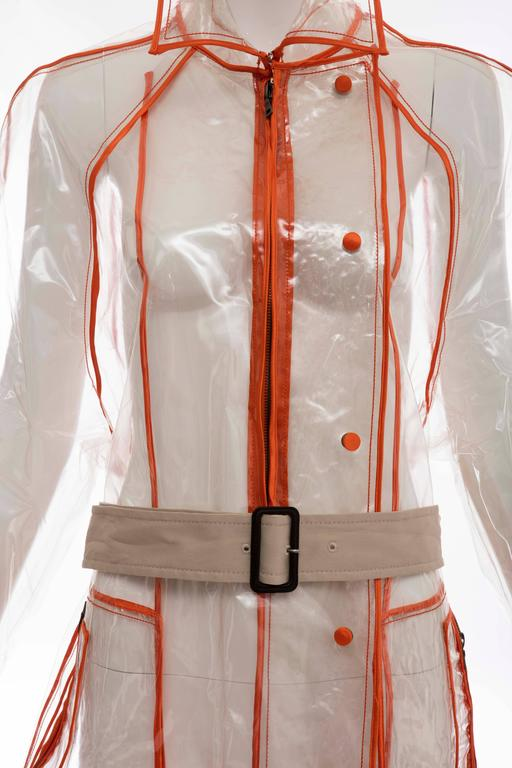 Prada Transparent PVC Rain Coat Contrasting Orange Trim, Fall 2002  For Sale 1