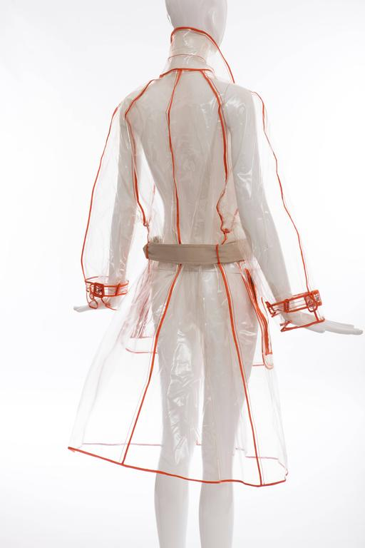 Prada Transparent PVC Rain Coat Contrasting Orange Trim, Fall 2002  For Sale 2