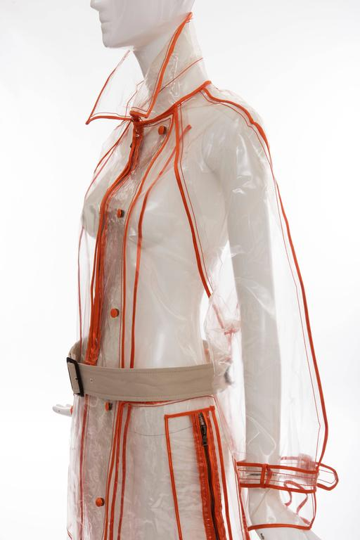 Prada Transparent PVC Rain Coat Contrasting Orange Trim, Fall 2002  For Sale 3