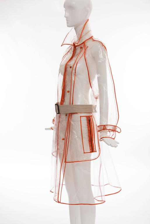 Prada Transparent PVC Rain Coat Contrasting Orange Trim, Fall 2002  For Sale 5