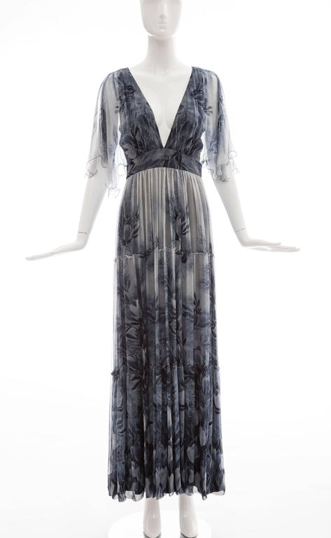 Vicky Tiel made in France for Giorgio Beverly Hills, circa 1980's floral silk chiffon evening dress, back zip and fully lined.  Bust 32, Waist 27, Hips 40, Length 56
