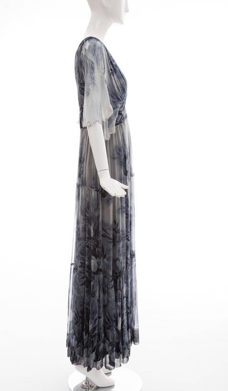 Black Vicky Tiel Giorgio Beverly Hills Floral Silk Chiffon Evening Dress, Circa 1980's For Sale