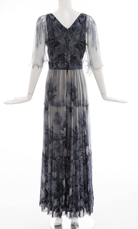 Vicky Tiel Giorgio Beverly Hills Floral Silk Chiffon Evening Dress, Circa 1980's In Excellent Condition For Sale In Cincinnati, OH