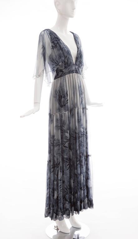Women's Vicky Tiel Giorgio Beverly Hills Floral Silk Chiffon Evening Dress, Circa 1980's For Sale