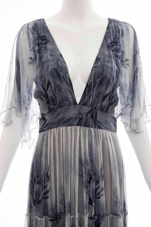 Vicky Tiel Giorgio Beverly Hills Floral Silk Chiffon Evening Dress, Circa 1980's For Sale 1
