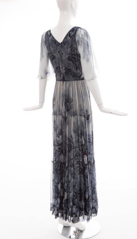 Vicky Tiel Giorgio Beverly Hills Floral Silk Chiffon Evening Dress, Circa 1980's For Sale 2
